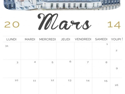 calendrier, mars 2014, photographe, freebies, gratuit, fond d'ecran, cadeau, Paris, création, professionnel