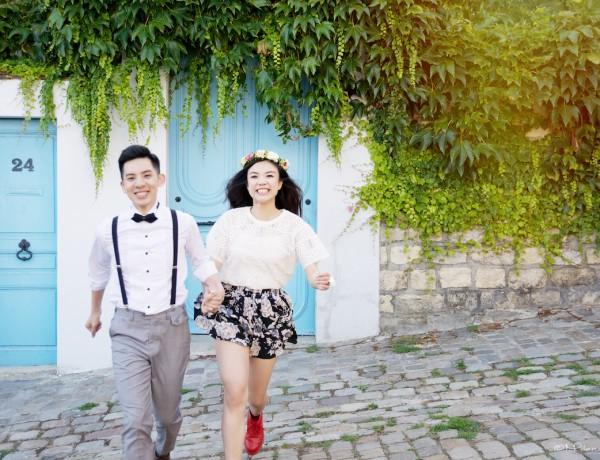 Portrait, couple,Paris, Montmartre, photographe, couple, engagement, séance photo, pre-wedding, engagement session